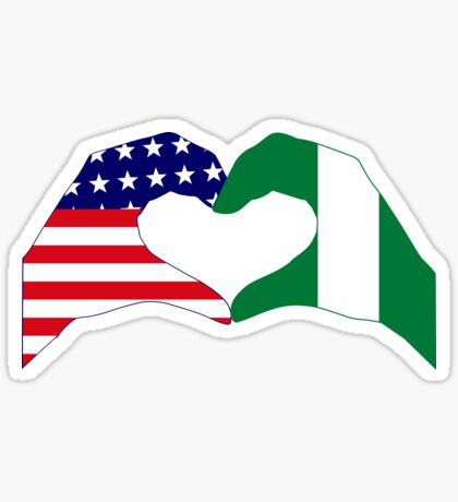 We Heart USA & Nigeria Patriot Flag Series Sticker