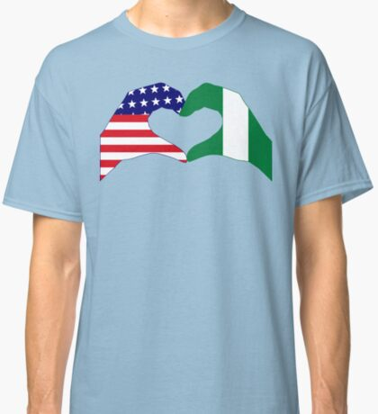 We Heart USA & Nigeria Patriot Flag Series Classic T-Shirt