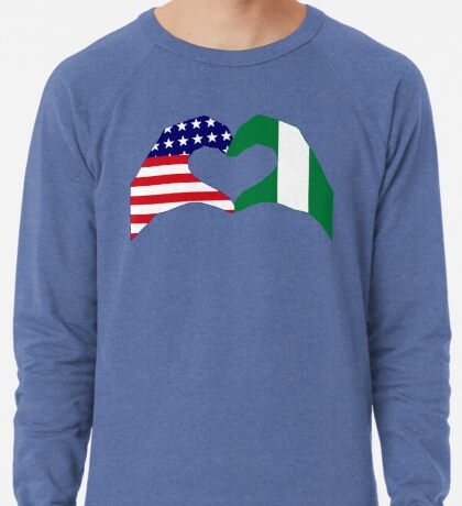 We Heart USA & Nigeria Patriot Flag Series Lightweight Sweatshirt