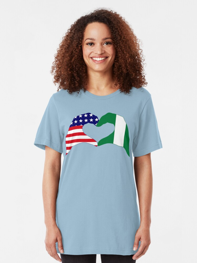 Alternate view of We Heart USA & Nigeria Patriot Flag Series Slim Fit T-Shirt