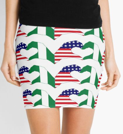 We Heart USA & Nigeria Patriot Flag Series Mini Skirt