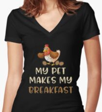My Pet Makes My Breakfast - Funny Chicken Lover Gifts Women's Fitted V-Neck T-Shirt