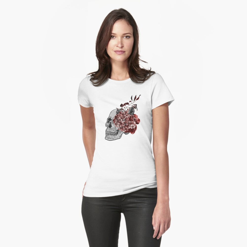Floral Skull - Anatomical Summer Flowers Womens T-Shirt Front
