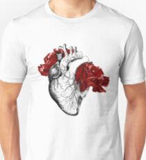 Anatomical Heart With Red Flowers Unisex T-Shirt