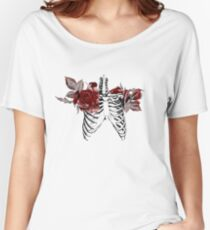 Skeleton Ribcage with Red Floral Blooms Women's Relaxed Fit T-Shirt