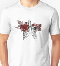 Skeleton Ribcage with Red Floral Blooms Unisex T-Shirt