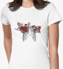 Skeleton Ribcage with Red Floral Blooms Women's Fitted T-Shirt