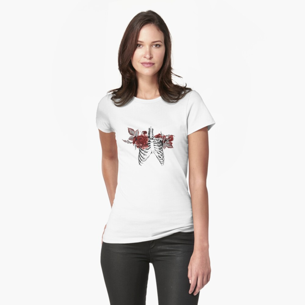 Skeleton Ribcage with Red Floral Blooms Womens T-Shirt Front