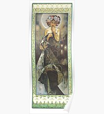 HD. The Moon and the Stars, (number 1 from serie of 4) by Alphonse Mucha (1902) HIGH DEFINITION Poster