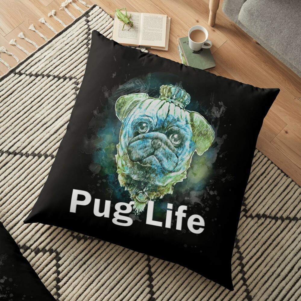 Pug Life Dog watercolor digital Art Cojines de suelo