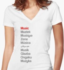 Music (10 languages) Women's Fitted V-Neck T-Shirt
