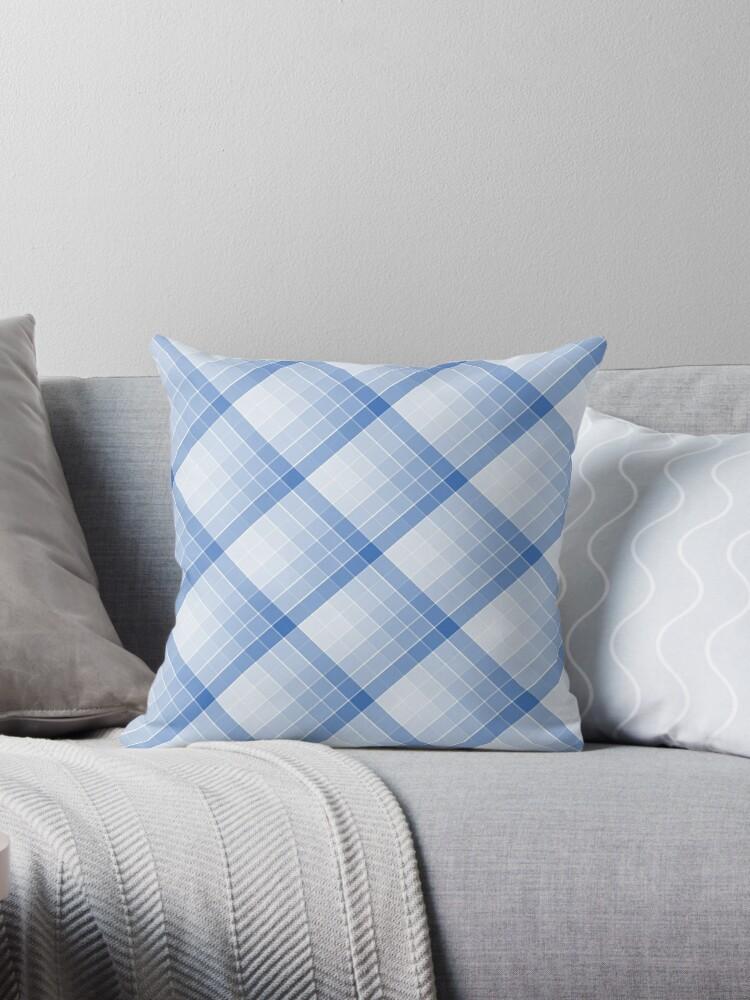 Sky Blue Geometric Squares Diagonal Check Tablecloth By Podartist