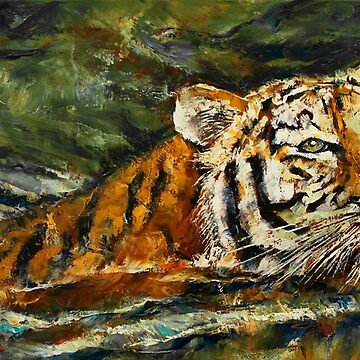 Swimming Tiger by michaelcreese