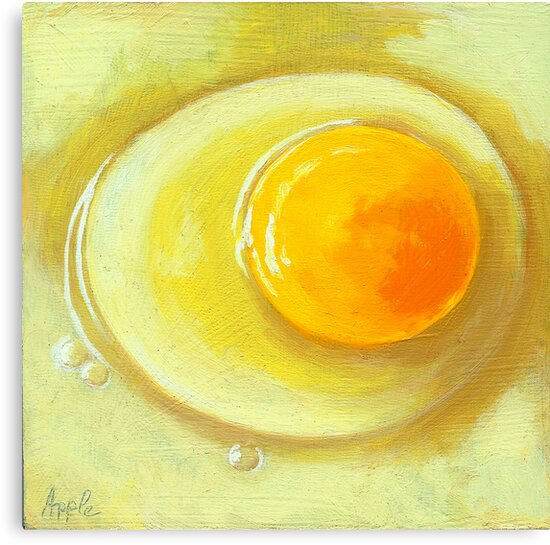 Egg on a Plate - realism still life by LindaAppleArt
