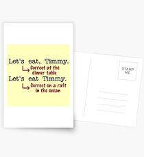 Lustiger Interpunktions-Grammatik-Spaß Postkarten