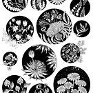 «Flores patrón tinta arte blanco y negro» de Ruta Dumalakaite