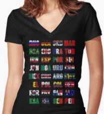 Russia 2018 qualified teams Women's Fitted V-Neck T-Shirt