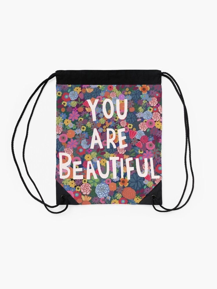 Alternate view of You are Beautiful Drawstring Bag