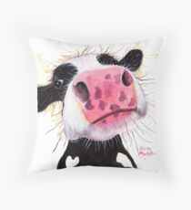 COW PRiNT  'BETTY BLUEBERRY' BY SHIRLEY MACARTHUR Throw Pillow