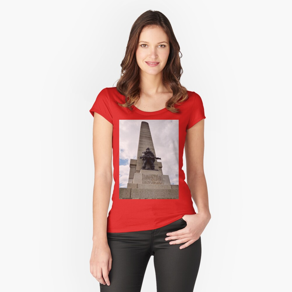 Grange Hill War Memorial, West Kirby, Wirral Women's Fitted Scoop T-Shirt Front