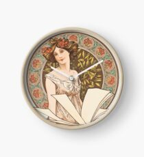 HD. Champenois Calendar, Alphonse Mucha HIGH DEFINITION (original colors) Clock