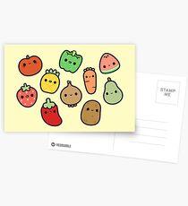 Fruits et légumes mignons Cartes postales