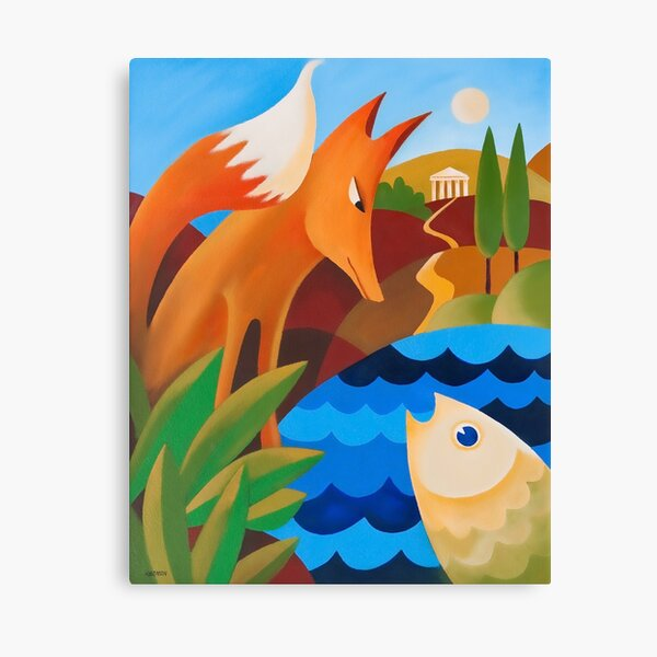 THE FOX AND THE FISH Canvas Print