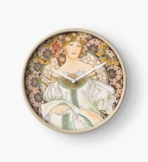 HD. F. Champenois, by Alphonse Mucha HIGH DEFINITION (Original colors) Clock