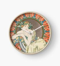 HD. Woman with Poppies, by Alphonse Mucha (1898) HIGH DEFINITION (Original colors) Clock