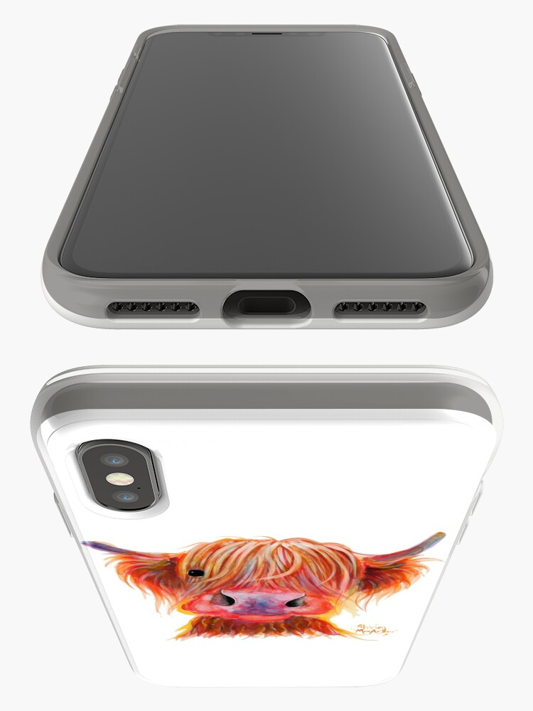 Alternate view of Scottish Highland Hairy Cow ' CHILLI CHOPS ' by Shirley MacArthur iPhone Case & Cover