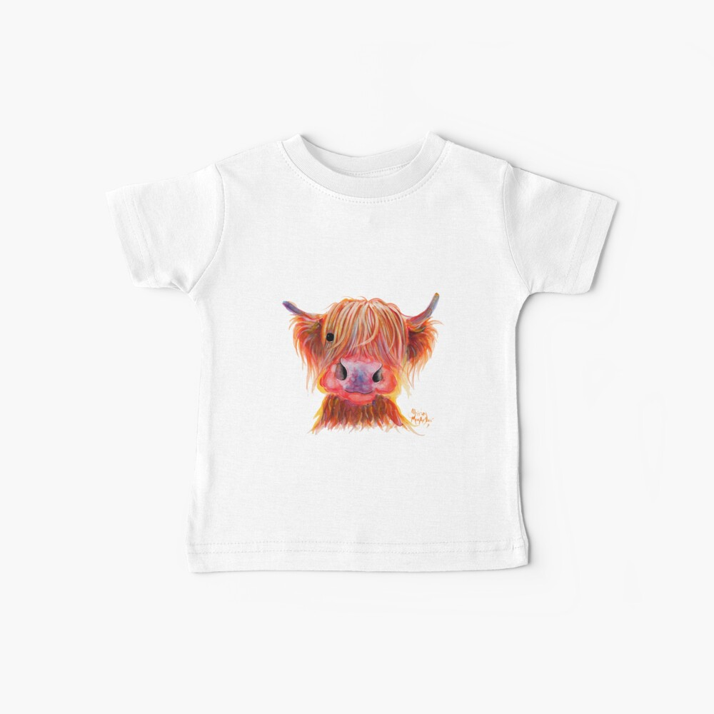 Scottish Highland Hairy Cow ' CHILLI CHOPS ' by Shirley MacArthur Baby T-Shirt