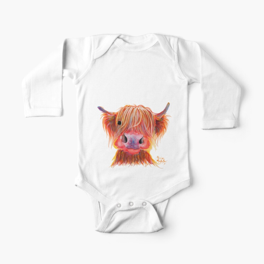 Scottish Highland Hairy Cow ' CHILLI CHOPS ' by Shirley MacArthur Baby One-Piece