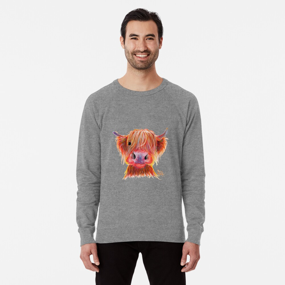 Scottish Highland Hairy Cow ' CHILLI CHOPS ' by Shirley MacArthur Lightweight Sweatshirt