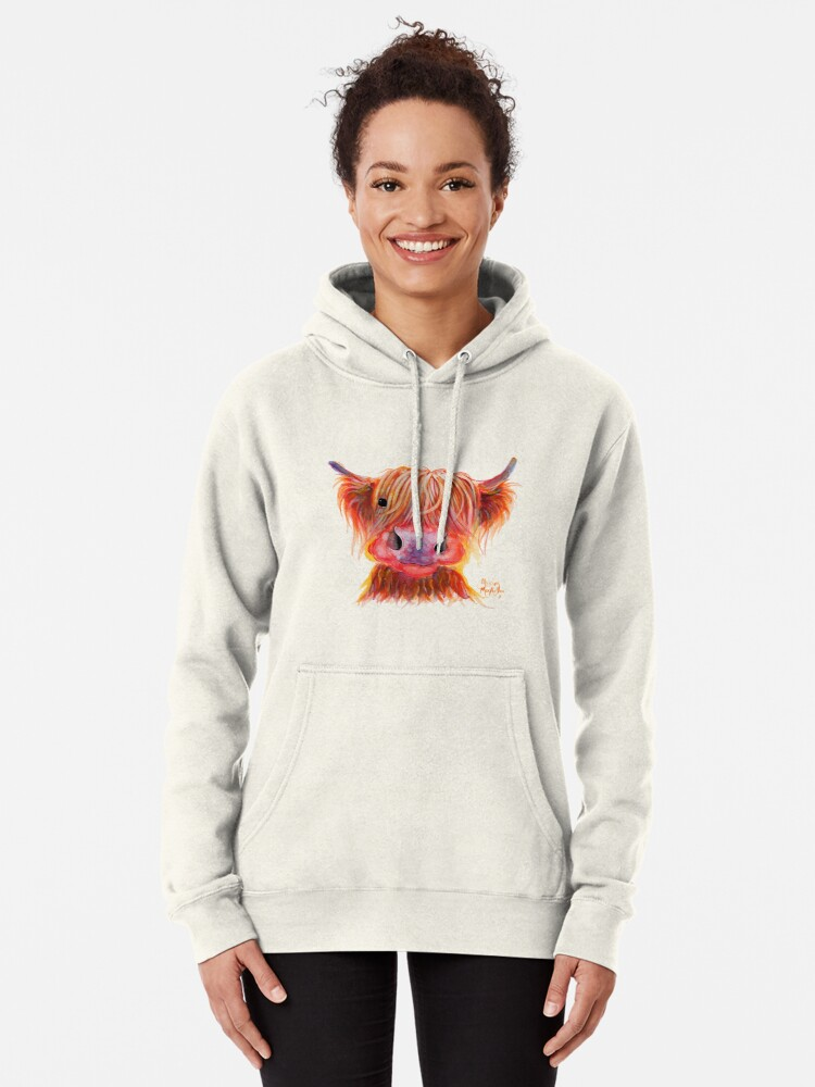 Alternate view of Scottish Highland Hairy Cow ' CHILLI CHOPS ' by Shirley MacArthur Pullover Hoodie