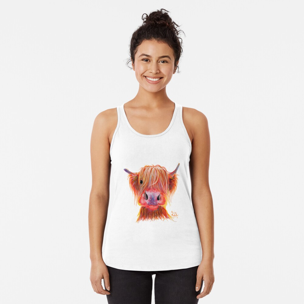 Scottish Highland Hairy Cow ' CHILLI CHOPS ' by Shirley MacArthur Racerback Tank Top