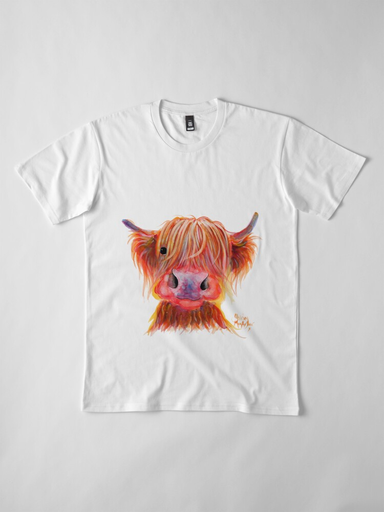 Alternate view of Scottish Highland Hairy Cow ' CHILLI CHOPS ' by Shirley MacArthur Premium T-Shirt