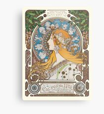 HD. Zodiac (First version), by Alphonse Mucha (1896) HIGH DEFINITION  Metal Print