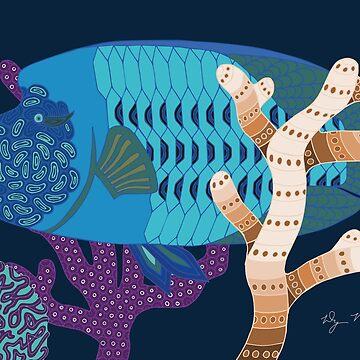Fish Wrasse with Coral Genuine Aboriginal Art by wigilwigil