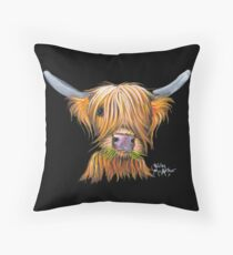 HIGHLAND COW PRiNT ' LITTLE VIKING ' By Shirley MacArthur Throw Pillow