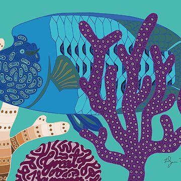 Fish Wrasse with Coral Genuine Aboriginal Art 1 by wigilwigil