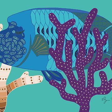 Fish Wrasse with Coral Genuine Aboriginal Art 3 by wigilwigil
