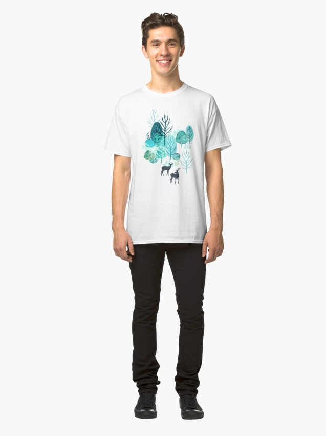 Alternate view of Emerald forest deer on white Classic T-Shirt