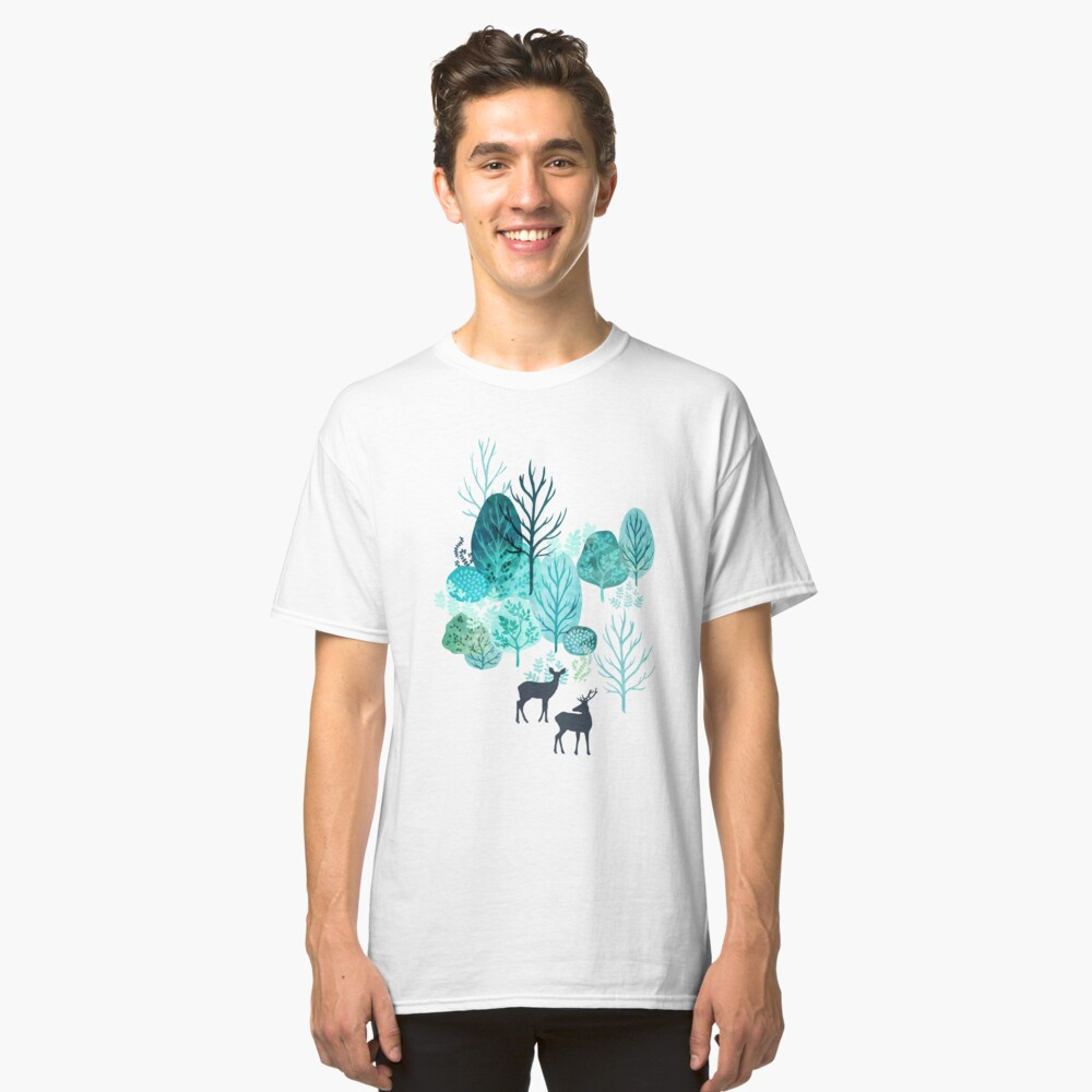 Emerald forest deer on white Classic T-Shirt