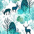 Emerald forest deer on white by adenaJ