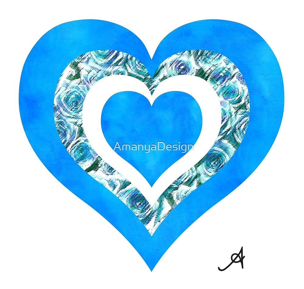 Textured Roses Blue Love Amanya Design by AmanyaDesign