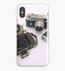 three rangefinders cameras on white background iPhone Case