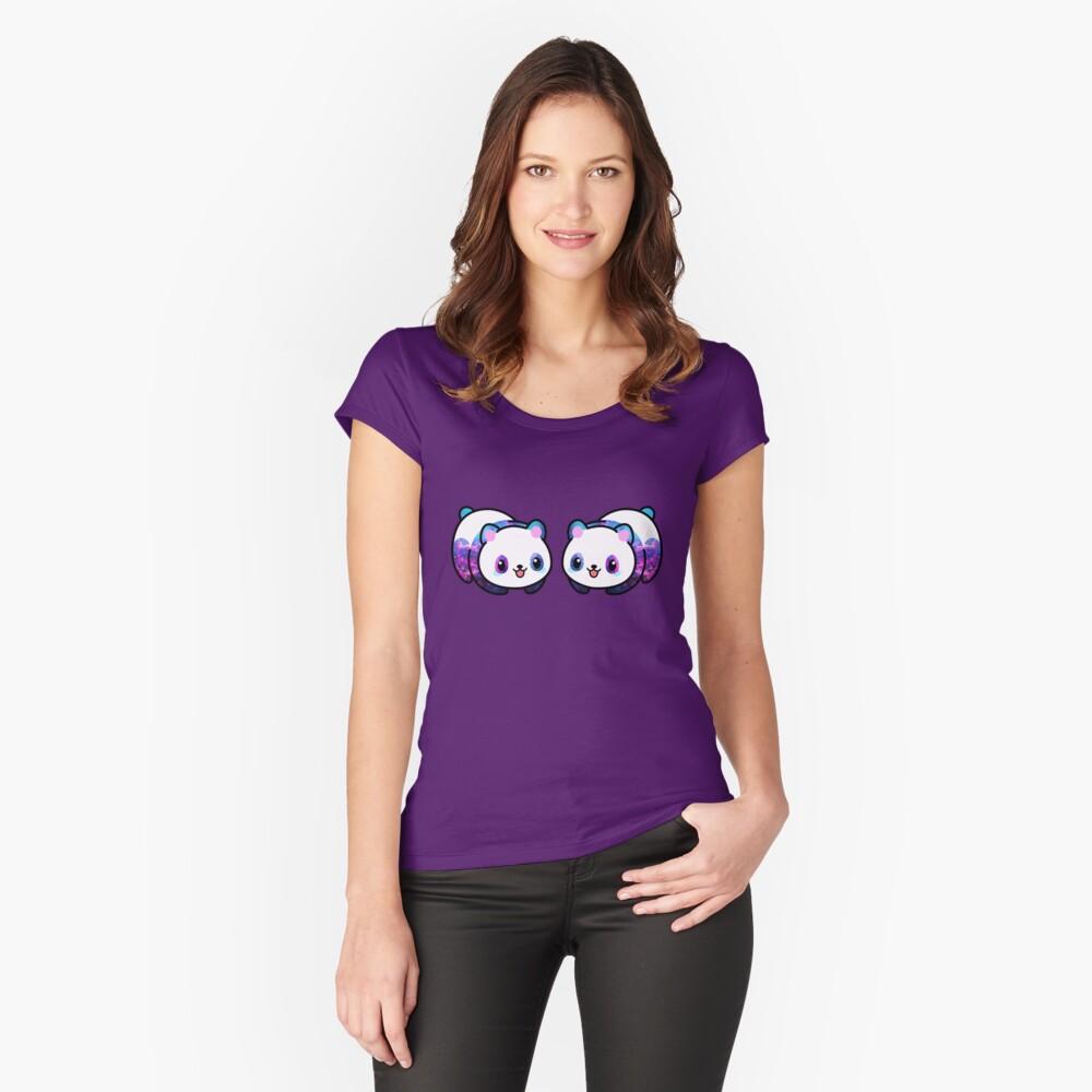 Patrón Kawaii Galactic Mighty Panda Camiseta entallada de cuello ancho