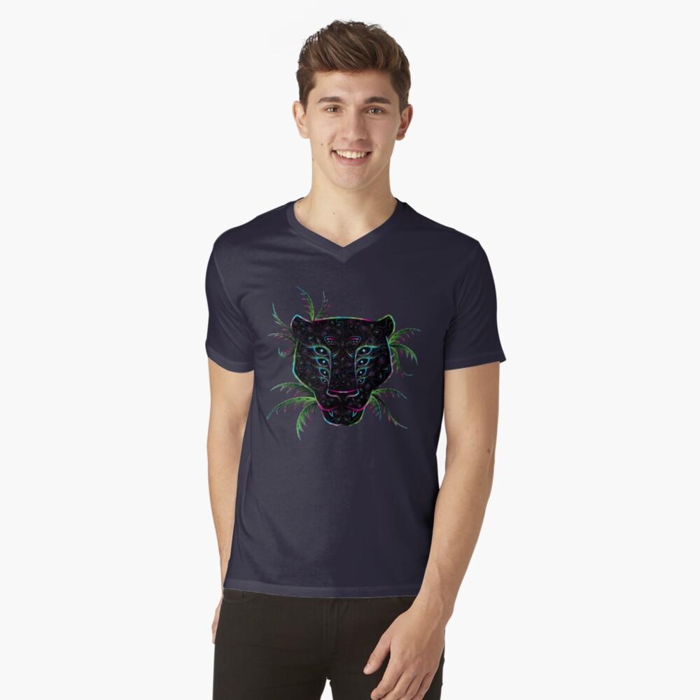 Psychedelic Ayahuasca Black Jaguar Spirit Shaman Animal V-Neck T-Shirt