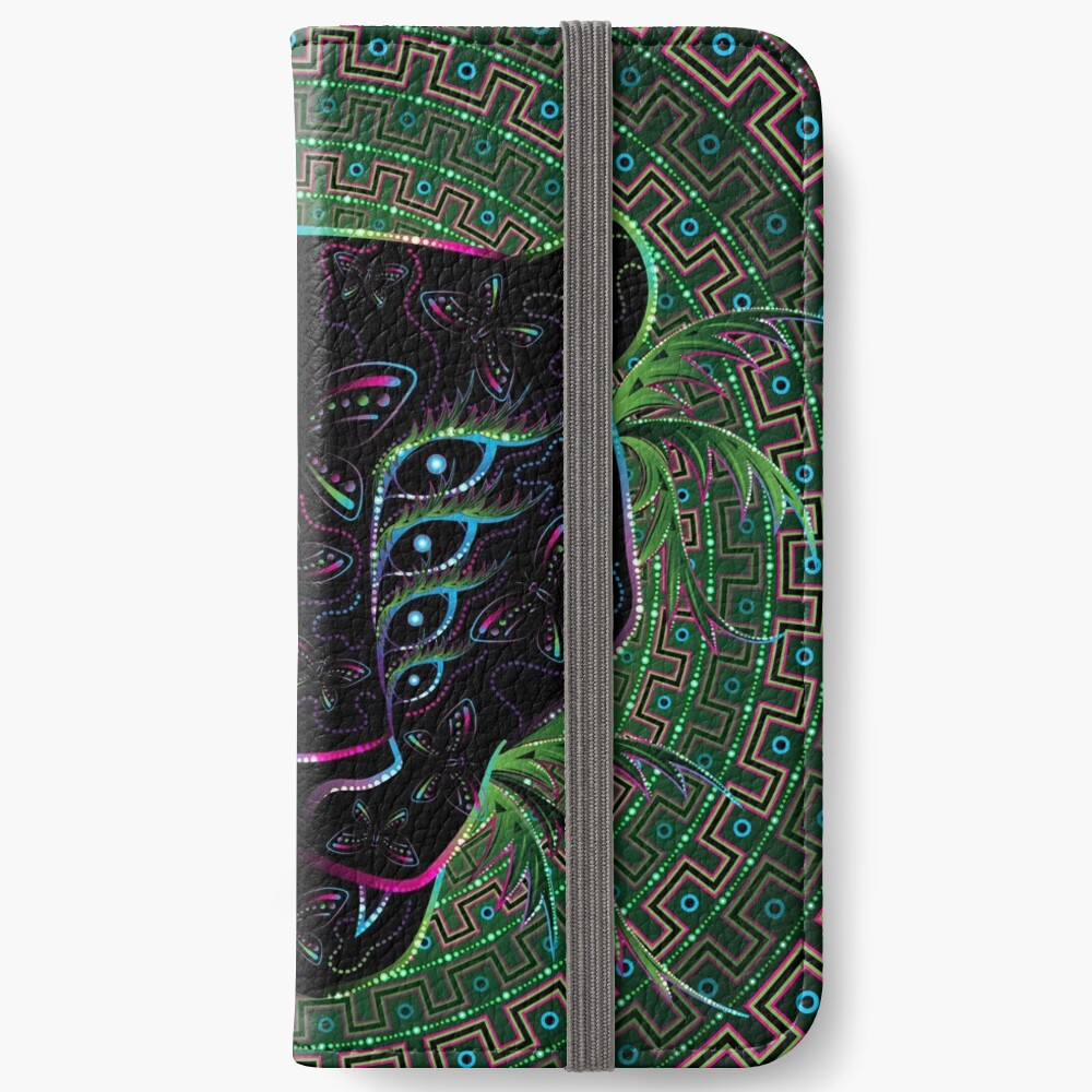 Psychedelic Ayahuasca Black Jaguar Spirit Shaman Animal iPhone Wallet
