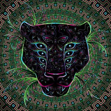 Psychedelic Ayahuasca Black Jaguar Spirit Chamán Animal de grebenru